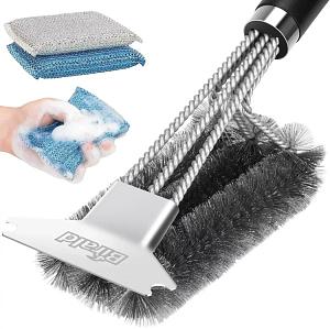 Birald 18 inch Stainless Steel Grill Brush and Scraper Bristle Free